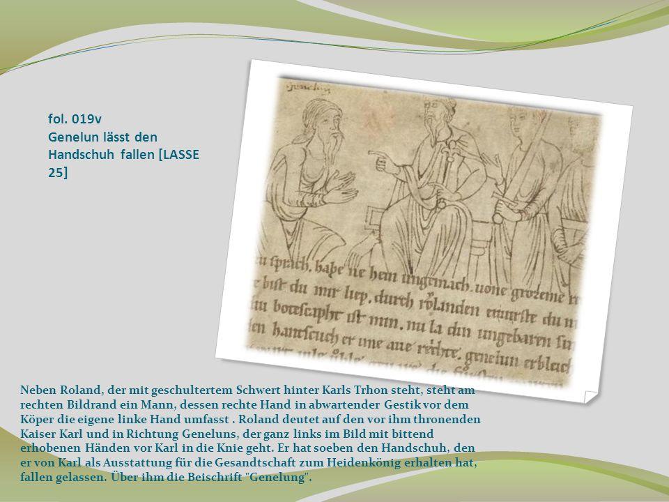 fol. 019v Genelun lässt den Handschuh fallen [LASSE 25]